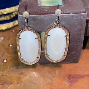 Silver-Tone Metal & White Stone Earrings